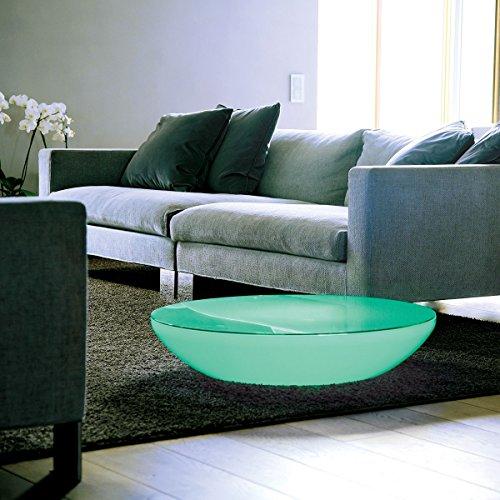 Moree Lounge Variation LED Pro - Table Lumineuse Blanc/translucide/INKL. Plateau de Table/Multicolor LEDs/Infrarouge (IR)/avec télécommande/H 18cm/Ø 84.5cm