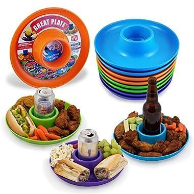 Great Plate Food Beverage Plate Multi-color 12-pack Teal Lime-green Orange Purple