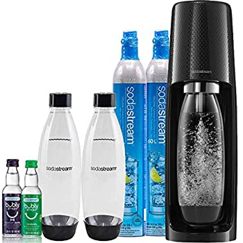 SodaStream Fizzi Sparkling Water Maker Bundle  Black  with CO2 BPA Free Bottles and Bubly Drops Flavors