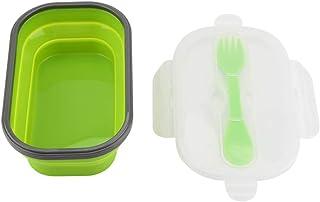 recipientes Silicona, Calidad alimentaria Plegable Caja hermética récipients Alimentos almacenaje Comida casa Trabajo Camping Viaje 19.5 x 12.2 x 6 cm