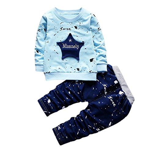 Hirolan Neugeborenes Säugling Baby Jungen Star Drucken Tops + Hosen Outfits Baggyjeans Pullover & Strickjacken Sweatshirts Hosen Babykleidung Krabbelhosen (Blau, 90)