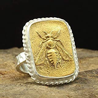 Ancient Greek Art Honey Bee Coin Ring 925 Sterling Silver 24K Yellow Gold Vermeil Two Tone Handcrafted Hammered Artisan Si...