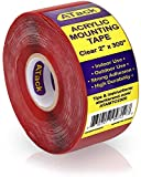 ATack Double-Sided Acrylic Mounting Tape Removable, Clear, 2-inch x 300-Inch, Waterproof Indoor and Exterior Double Sides Brick Mounting Tape