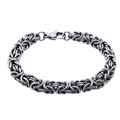 Jade Angel Herren und Damen Titan Edelstahl Königskette Armband 8 mm Breite (18,5 cm)