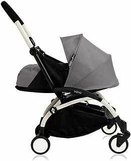 Babyzen YOYO+ Newborn Stroller Bundle - White Frame plus 0+ Newborn Color Pack (Grey)