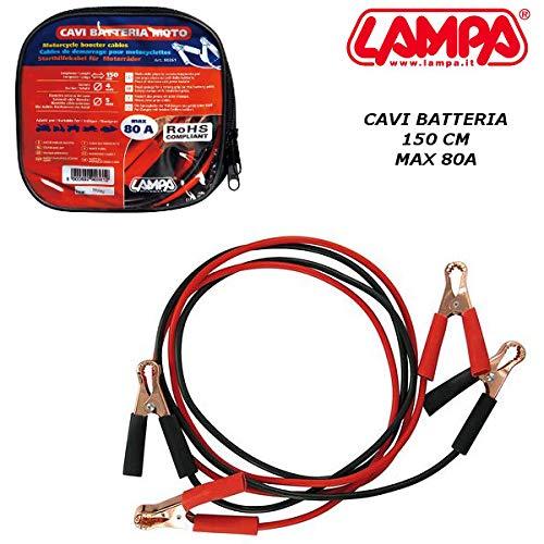90361 Cables de batería con Pinzas de Seguridad Motom 150 cm máx. 80 A Moto Scooter lámpara
