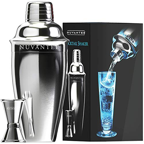Nuvantee Cocktailshaker Set - Premium Bar Kit mit kostenlosem Messbecher - Cocktailrezepte Broschüre - 0,7L Professioneller Edelstahl Cocktail Shaker - Martinishaker, Mixer mit Sieb