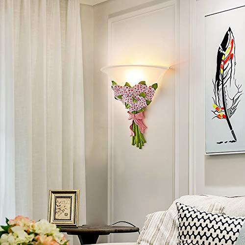 TYXL Luz de pared Luz Cálida Rosa Estrellada Flor Lámpara De Pared Pasillo Pasillo Sala De Estar Dormitorio Junto A La Cama 31 * 35 Cm De Resina De Vidrio