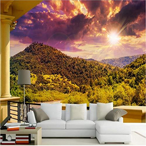Dianer fotobehang gang balkon landschap rivier landschap tv-woonkamer achtergrond behang aangepaste muurfoto Afmetingen: 400 x 280 cm (157,48 in door 110.24 inch).