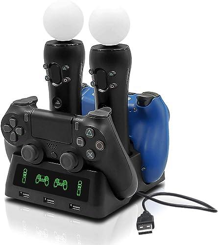 Tihokile Chargeur PS4 Manette, Double USB Load Station avec Indicateur LED, Load Intelligente Rapide, Contrôleur de L...