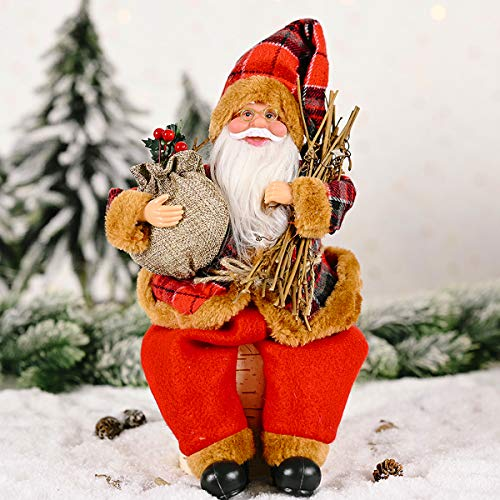 MEWTOGO Christmas Santa Claus Figurine Decoration in Red Suit- Sitting Santa Claus Doll Toy Hold Firewood and Gift Bag Xmas Table Figure Decor for Holiday Party Festival Presentt