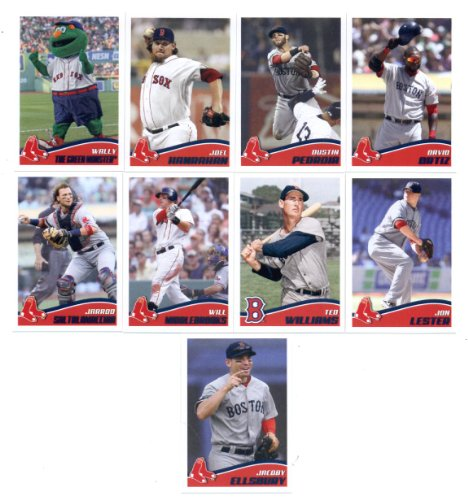 2013 Topps MLB Stickers Boston Red Sox Team Set (9 Stickers) - Ted Williams, David Ortiz, Dustin Pedroia, Joel Hanrahan, Jarrod Saltalamacchia, Will Middlebrooks, Jon Lester, Jacoby Ellsbury, and Wally The Green Monster the Boston Red Sox Team Mascot