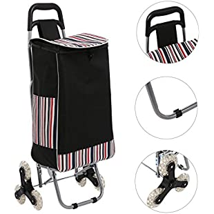 ZEARO Folding Shopping Cart with Wheels, Stair Climbing Cart Grocery Laundry Rolling Trolley Cart with Waterproof Bag:Porcelanatoliquido3d