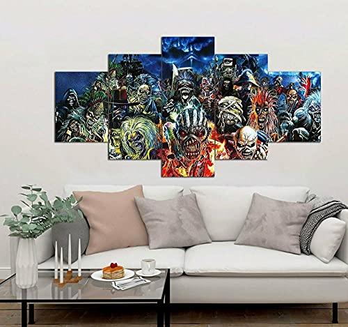 Impresiones sobre Lienzo Iron Maiden 5 Cuadros En Lienzo Modernos Salón Decoracion Murales Pared Lona XXL Grande Hogar Dormitorios Arte Pared HD Impresión Foto