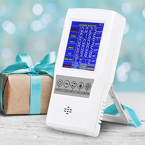 InLoveArts Monitor di qualità dell'aria precisa PM2.5 Formaldeide PM10 PM1.0 Rilevatore HCHO TVOC con schermo LCD colorato e allarme, monitor della qualità dell'aria da interni