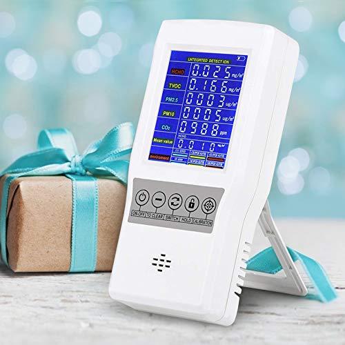 InLoveArts Monitor de calidad del aire de precisión PM2.5 Formaldehído PM10 PM1.0 HCHO Detector TVOC con pantalla LCD colorida y alarma, monitor de calidad del aire en interiores