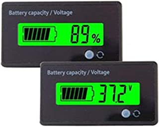 Multifunctional Battery Capacity Monitor 36V LCD Battery Fuel Gauge Indicator Meter for Lead-Acid Battery Motorcycle Golf Cart Car, Green