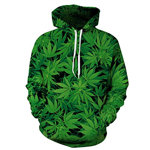 Männer Frauen 3D Cannabis Blatt Print Hoodies,Unisex Paar Outdoor Freizeit Sweatshirts Langarm Pullover Hooded Pullover Mantel Mit Taschen M-4XL,A-L