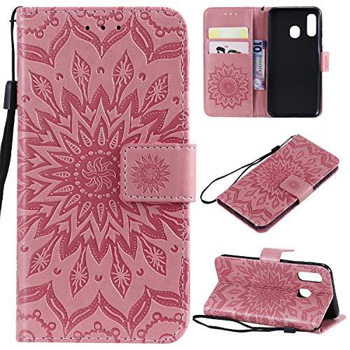 nancencen Hülle Kompatibel mit Samsung Galaxy A8S, Flip-Hülle Handytasche - Standfunktion Brieftasche & Kartenfächern - Sun Flower - Pink