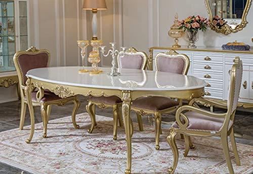 Casa Padrino Conjunto de Comedor Barroco de Lujo Rosa/Blanco/Oro - 1 Mesa de Comedor Ovalada y 6 Sillas de Comedor - Muebles de Comedor en Estilo Barroco magnífica