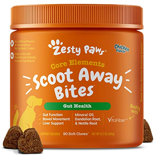 Zesty Paws Scoot Away Soft Chews for Dogs - with Bromelain Enzymes, Vita Fiber & Dandelion Root to Support No Scoots – for Gut Health & Support for Normal Bowel Movement - 90 Soft Chews
