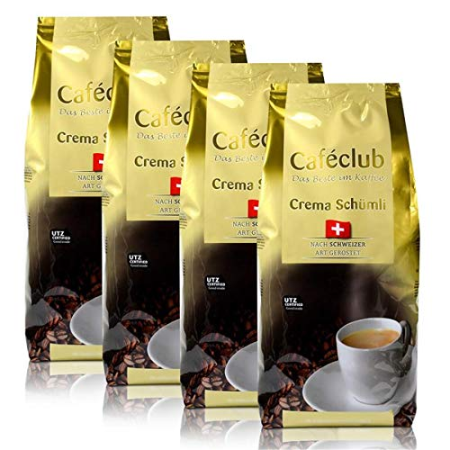 4x Cafeclub Supercreme Schweizer Schümli Kaffeebohnen 1 Kg Für Kaffeevollautomaten