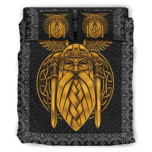 Twelve constellations 4-Teiliges Bett-Set Odin Viking Neuheit Atmungsaktiv Drucken- Bett-Set White 228x228cm