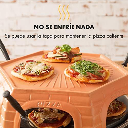 Klarstein Capricciosa Horno para 6 personas - Horno para pizzas, Eléctrico, 1500 W, Cocción en 5-7 minutos, Cubierta de terracota, Conserva el calor, Negro