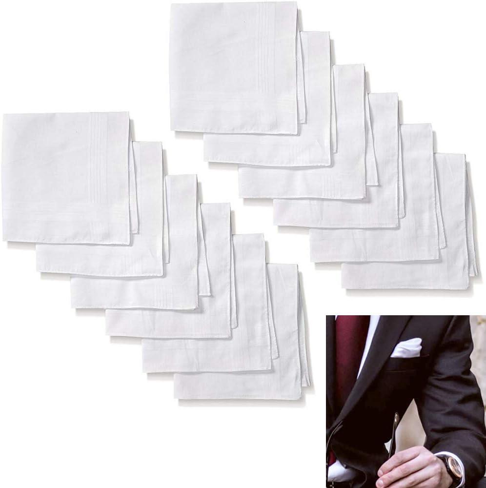 12 X Men Handkerchief Pocket Hankie Solid White 100% Cotton Fancy Fashion Suit