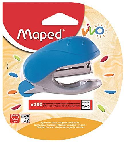 MAPED Vivo Mini Agrafeuse pour Agrafes 24/6 Ou 26/6 avec ôte-agrafes Intégré, Livré avec Une Boite de 400 Agrafes - Coloris Bleu