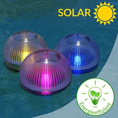 monzana ® Schwimmendes Pool Licht Solar LED | 7 Farben | 2er Set |Schwimmkugel Teichleuchte Poolbeleuchtung Wasserlicht Kugel Ball