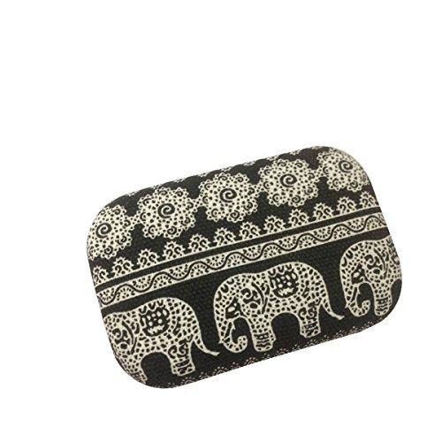ROSENICE Kontaktlinsenbehälter tragbare Kontaktlinsen Kasten Reisetasche mit Spiegel Elephant Muster