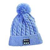 Cap Invierno Sombrero BluetoothV5.0 inalámbrica Inteligente la música del micrófono Auricular estéreo para Deporte al Aire Libre, Azul
