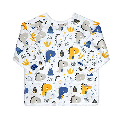 Pikababy Toddler Bibs Long Sleeved 2-4 Year Old - Waterproof Bibs for Toddler - Unisex Full Coverage Apron Bib Smock Toddler Bibs with Pocket - Washable, Stain and Odor Resistant (Dinos)