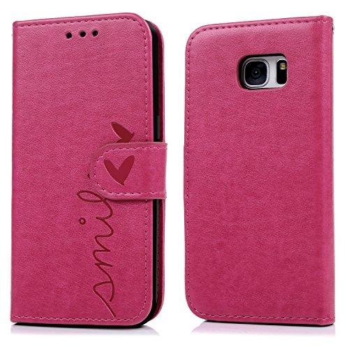 Geniric Funda S7 Edge, Carcasa Libro de Cuero Impresión de Amor PU Premium y TPU Funda Interna (2 en 1, Separable), Flip Wallet Case Cover para Samsung Galaxy S7 Edge - Rosa Rojo