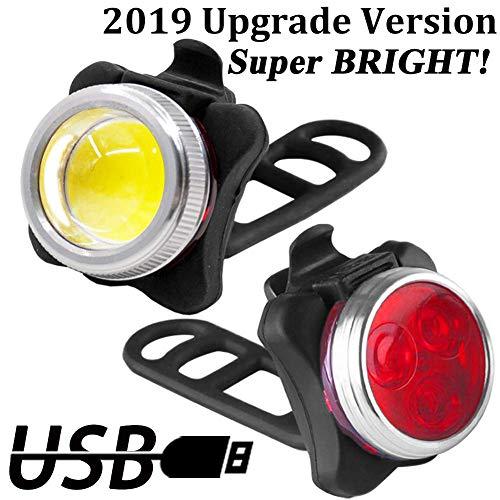 Luci per Bicicletta LED Ricaricabile USB Luci Bici 650mAh USB Ricaricabile Impermeabile LED Faro e Fanale Posteriore,4 Modalità, Batterie Inclusive,Usare Come Caricabatterie Portatile