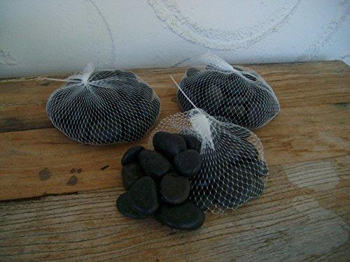 3 Kilo Flusssteine, Dekosteine, Zierkies, Flusskiesel, schwarz, matt