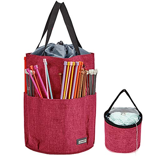 HOMEST XL Yarn Storage Tote, Tangle Free with 6 Oversized Grommets, Knitting and Crochet Organizer, Large Craft Supplies Bag with Drawstring Closure, Rose (Patent Design)