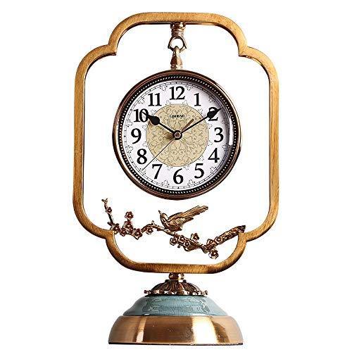 yunyu Reloj de Chimenea Reloj de Escritorio Retro Diseño silencioso Hecho de Metal Reloj clásico con Pilas para decoración de Sala de Estar Colección Antiguo (Color: Azul), Relojes Retro Europeos