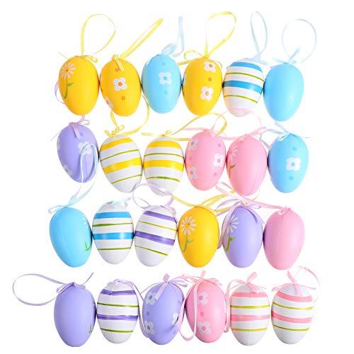 jojofuny Decorazioni per Uova di Pasqua Decorazioni Colorate per Uova di Pasqua Uova Decorative Appese Ornamenti per Alberi di Pasqua Forniture per Feste Bomboniere 24 Pezzi