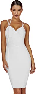 Maketina Women's Sexy Strapy Halter Club Dress Sleeveless Bodycon Midi Party Bandage Dress