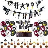 Wizard Inspired Cupcake Toppers BETOY 37PCS Cupcake Toppers cumpleaños Decoracion de Fiesta Mago Estandarte de cumpleaños globo
