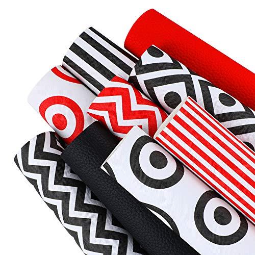 9 Piezas Hojas de Cuero de Imitación de Patrón Litchi Hojas de Tela de Cuero Sintética de Impreso a Rayas Círculo Diamante Hojas de Cuero Sintético para Bricolaje Costura Hacer Pendientes Lazo