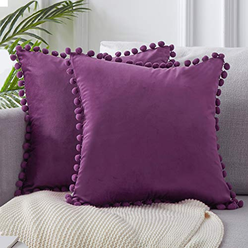 Topfinel Eggplant Purple Velvet Cushion Covers 18x18 Inch Soft Square Decorative Throw Pillowcases for Livingroom Sofa Bedroom 45cmx45cm,Pack of 2