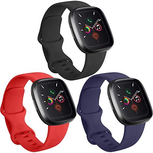 Funeng 3 Pack kompatibel mit Apple Watch Armband 38mm 40mm 42mm 44mm, Weiche Silikon Sport Ersatz Armband für iWatch Series 6 5 4 3 2 1 (Schwarz/Marineblau/Orangerot, 38mm/40mm S/M)