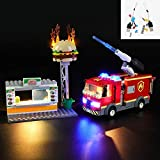 YLJJ DIY USB LED Light Set Compatible con Lego City Burger Bar Fire Rescue Engine Toy Truck 60214, Kit de luz LED para Bloques de construcción Modelo Niños (Incluido el Modelo)