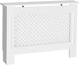 Cubierta de Radiador de Armario, Muebles para el Hogar Moderno Diseño Cruz Color Blanco MDF, Tamaño Medio