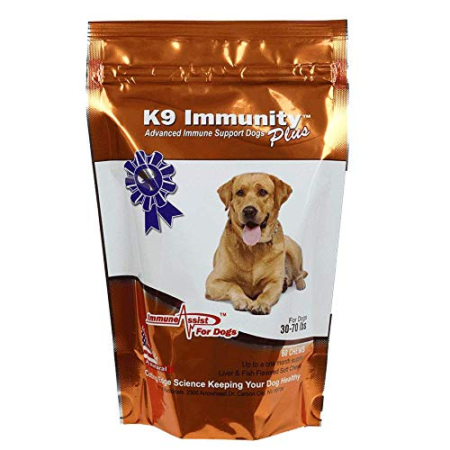 Aloha Medicinals - K9 Immunity Plus - Potent Immune Booster for Dogs 30-70 lbs - Certified Organic – Mushroom Enhanced Supplement - Veterinarian Recommended Dog Health Supplement (60 Chews)