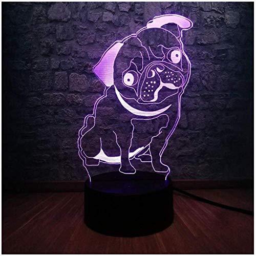 Night Light for Kids Novelty Cute Pug Puppy 3D Led Kid Night Light 7 Color Change Desk Lamp Baby Bedroom Sleep Lamp Decorative Child Birthday Gift