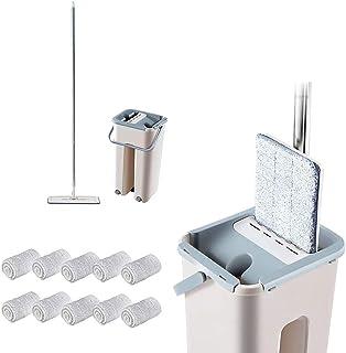 SIQDAK Serpillère plate avec seau,essoreur mains libres,serpillère à tête flexible à 360 ° pour laver et sécher à plat ave...